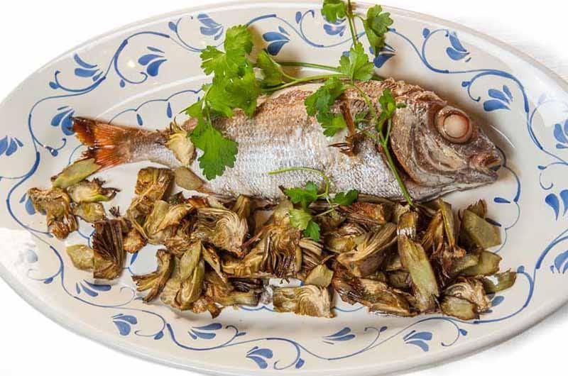 pezzogna con carciofi, ristorante a roma, ristorante di roma, mangiare a roma, ristoranti di roma, ristoranti a roma, mangiare a nomentano, pesce, ristorante di pesce, cucina marinara, pezzogna alla griglia, carciofi, cucina romana